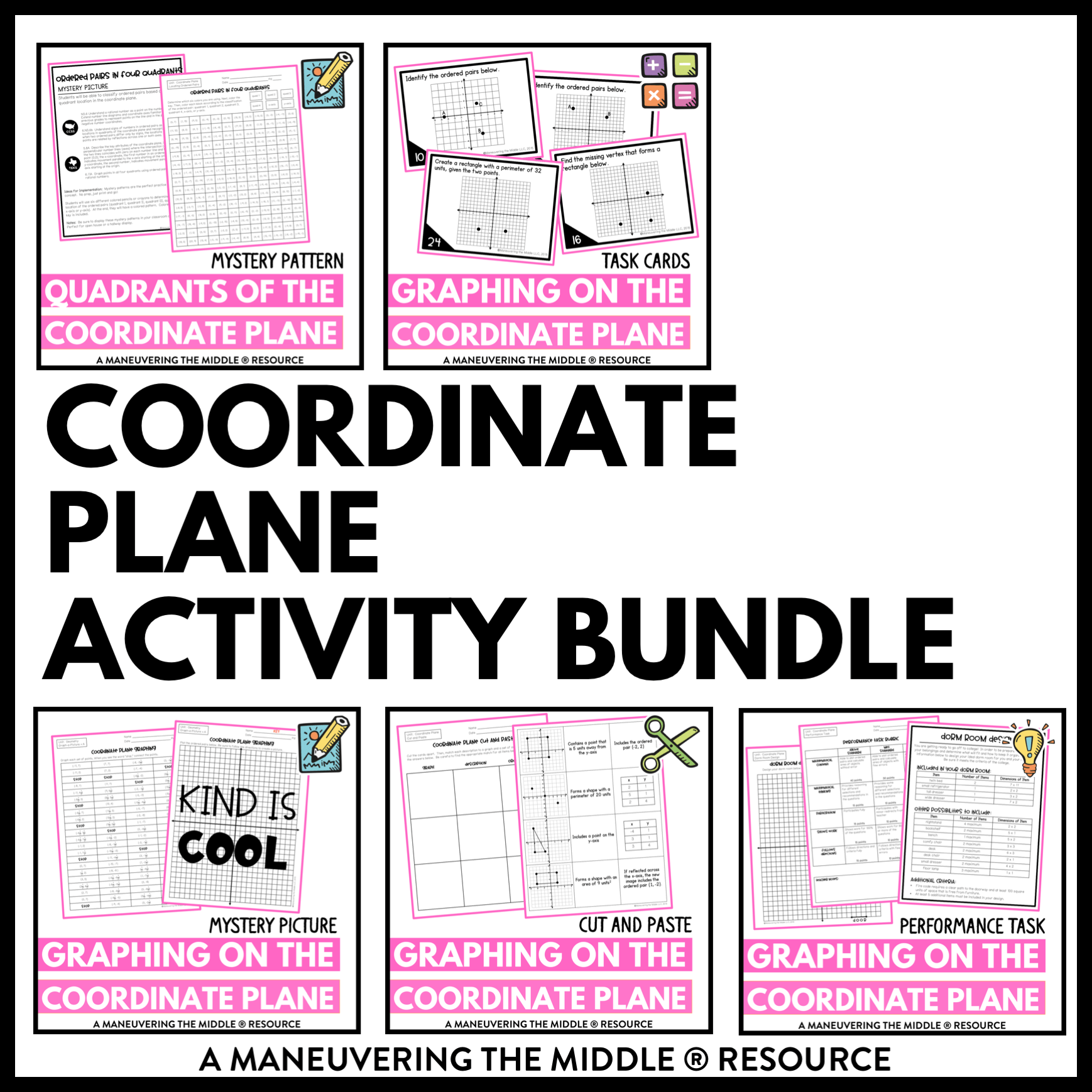 hight resolution of Coordinate Plane Activity Bundle 6th Grade - Maneuvering the Middle