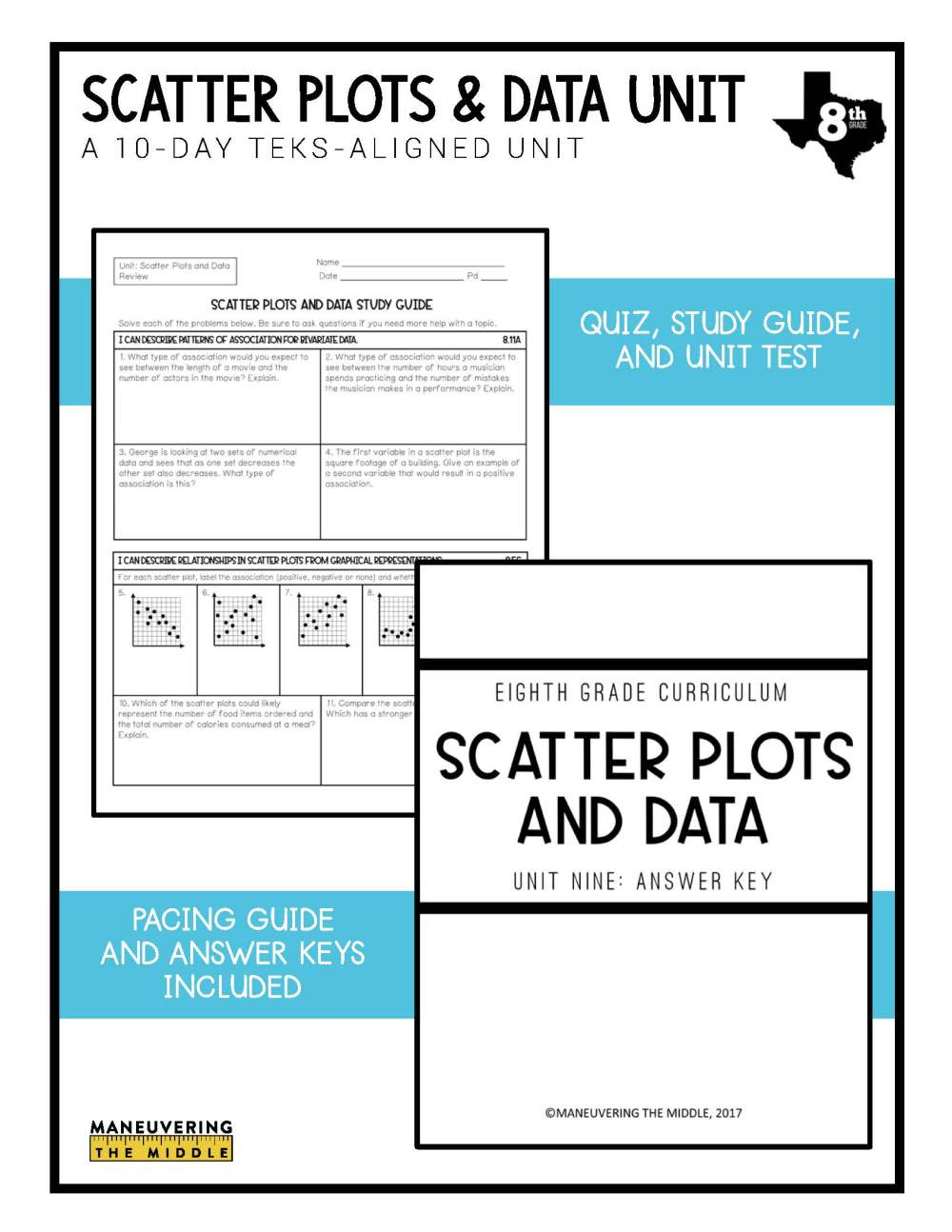 medium resolution of Scatter Plots and Data Unit 8th Grade TEKS - Maneuvering the Middle