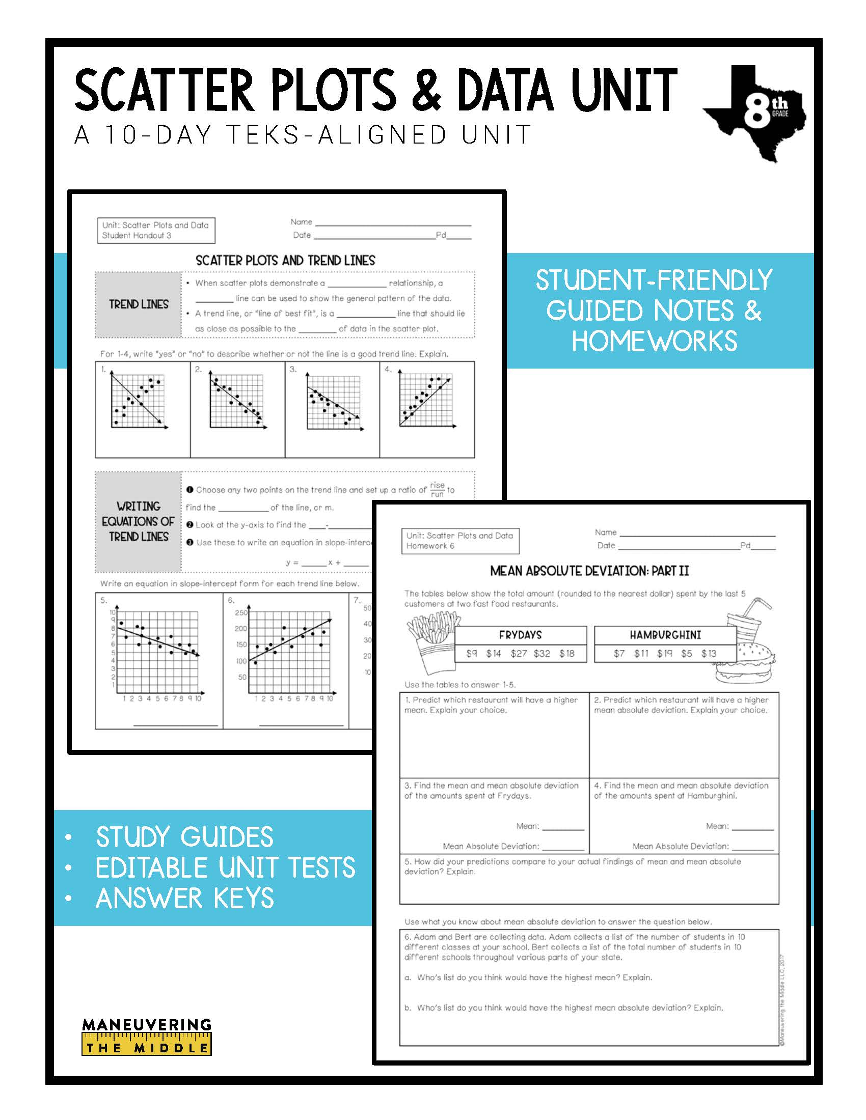 hight resolution of Scatter Plots and Data Unit 8th Grade TEKS - Maneuvering the Middle