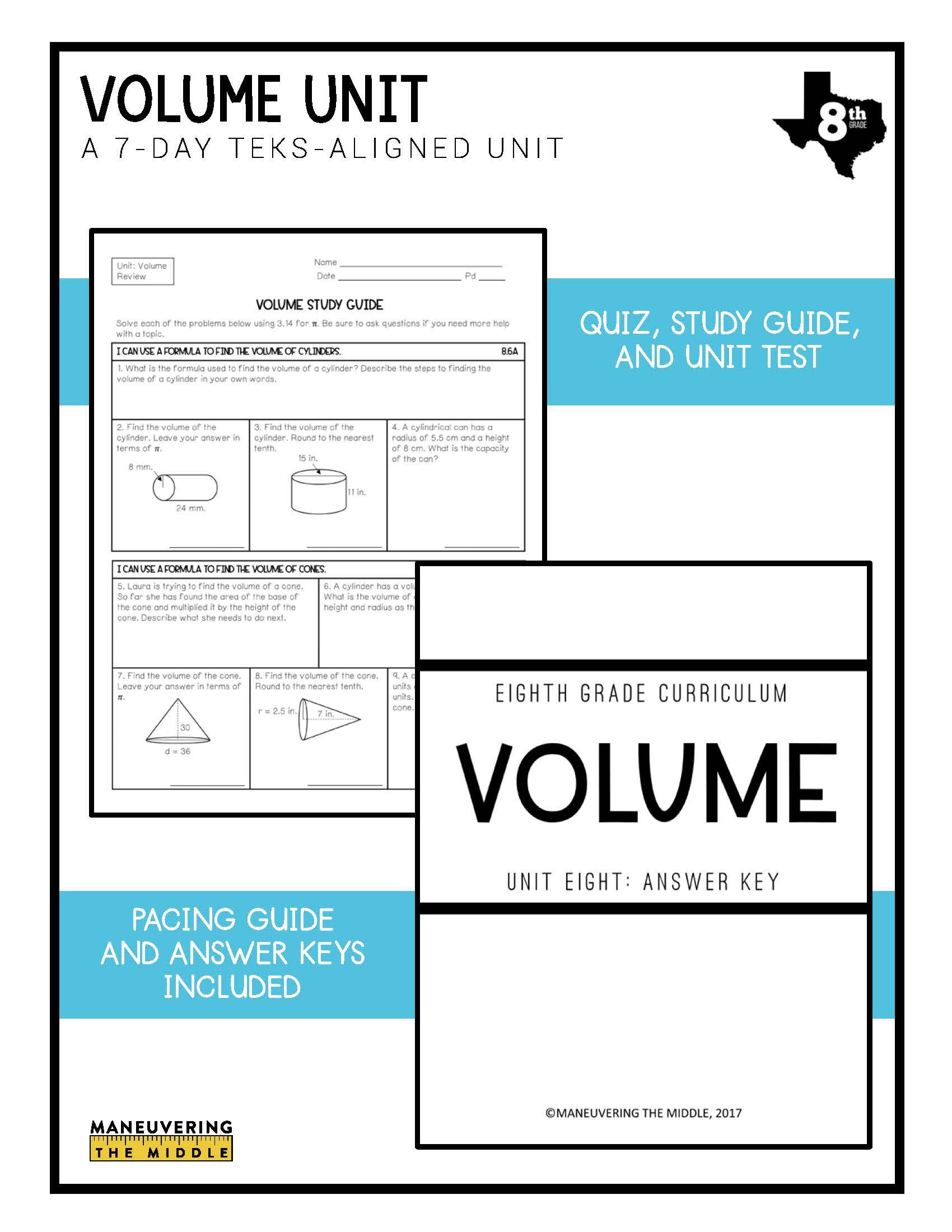 hight resolution of Volume Unit 8th Grade TEKS - Maneuvering the Middle