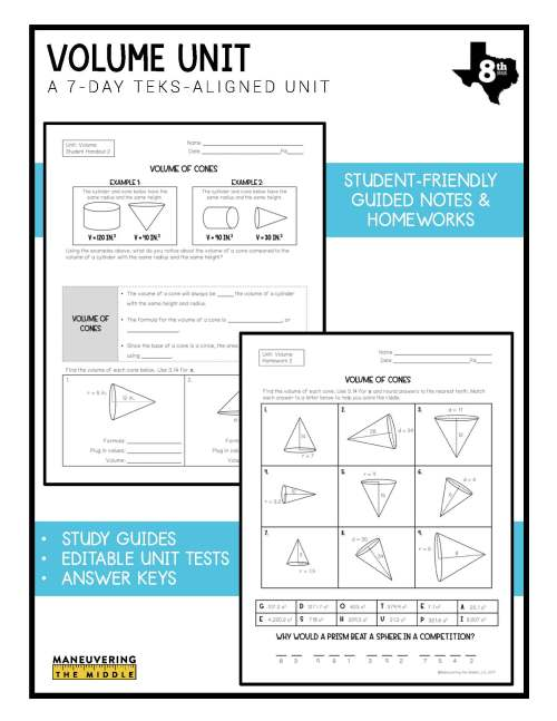 small resolution of Volume Unit 8th Grade TEKS - Maneuvering the Middle