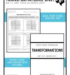 Transformations Unit 8th Grade TEKS - Maneuvering the Middle [ 2200 x 1700 Pixel ]