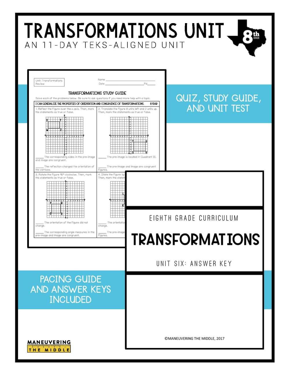 medium resolution of Transformations Unit 8th Grade TEKS - Maneuvering the Middle
