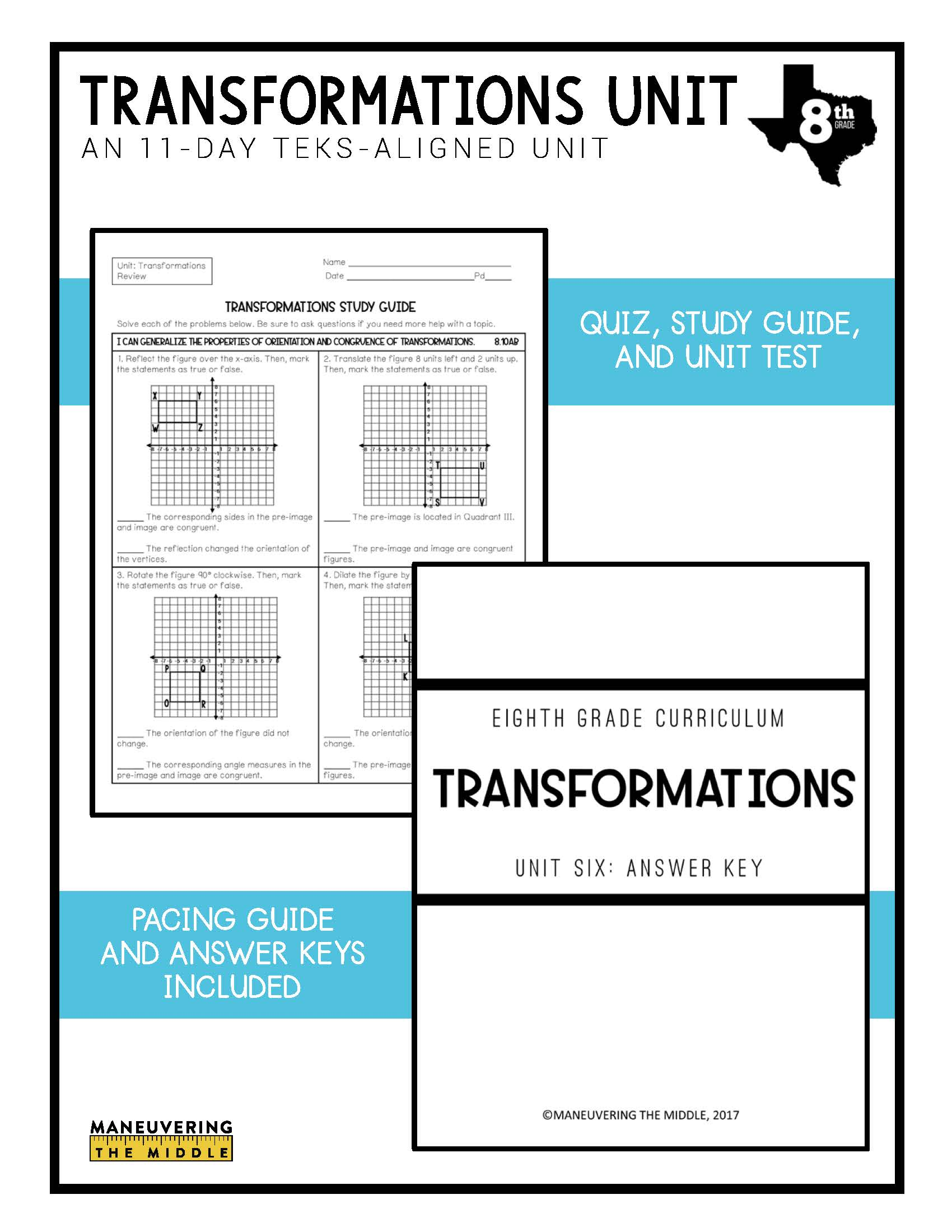 hight resolution of Transformations Unit 8th Grade TEKS - Maneuvering the Middle
