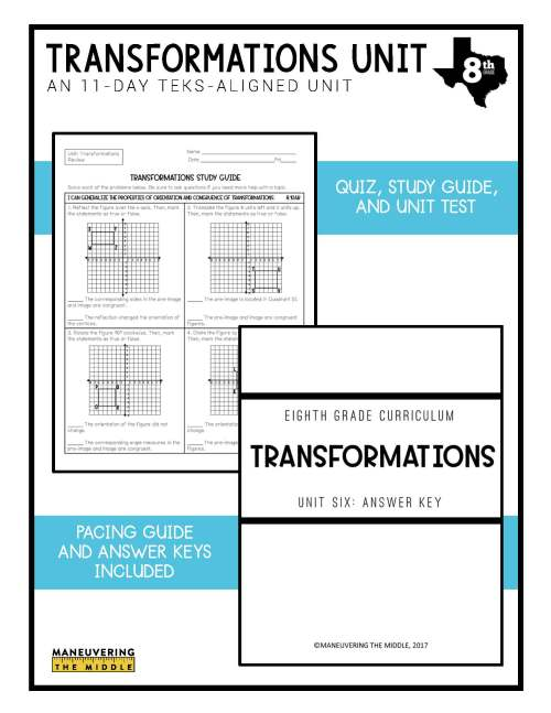 small resolution of Transformations Unit 8th Grade TEKS - Maneuvering the Middle