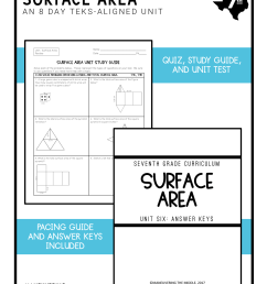Surface Area Unit 7th Grade TEKS - Maneuvering the Middle [ 2249 x 1738 Pixel ]
