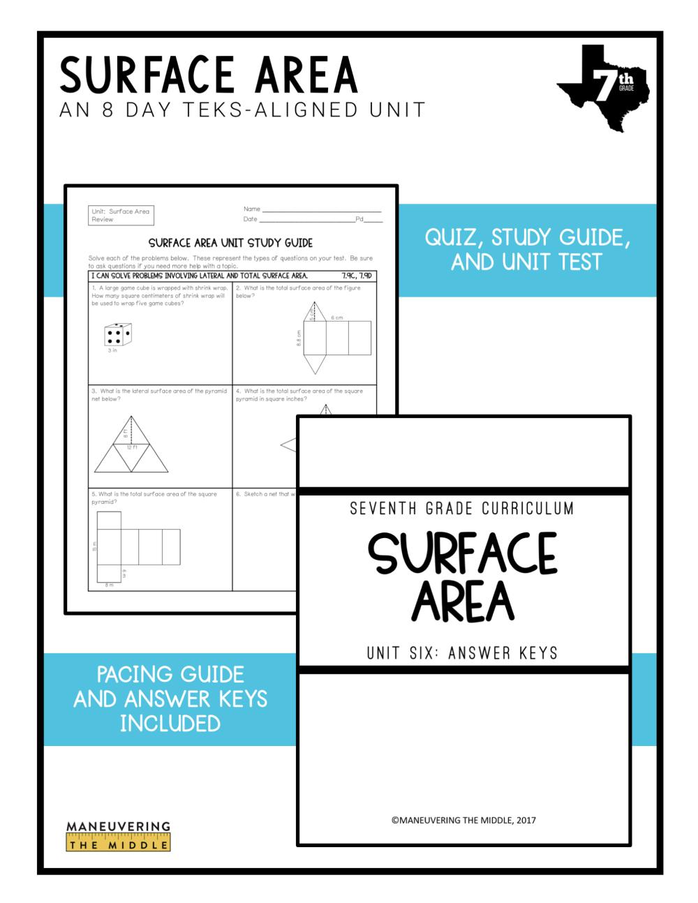 medium resolution of Surface Area Unit 7th Grade TEKS - Maneuvering the Middle