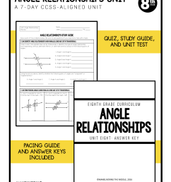 Angle Relationships Unit 8th Grade CCSS - Maneuvering the Middle [ 2200 x 1700 Pixel ]