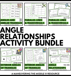 Angle Relationships Activity Bundle 8th Grade - Maneuvering the Middle [ 1265 x 1265 Pixel ]