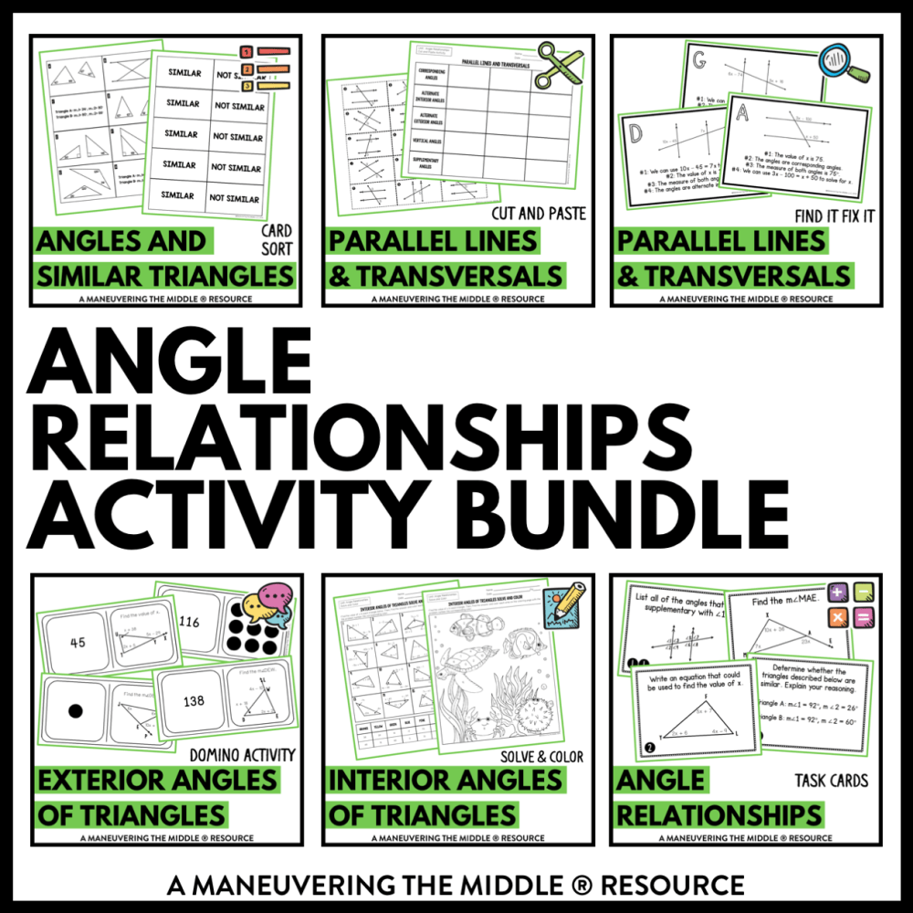 medium resolution of Angle Relationships Activity Bundle 8th Grade - Maneuvering the Middle