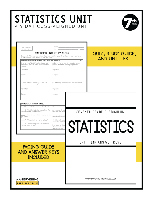 small resolution of Statistics Unit 7th Grade CCSS - Maneuvering the Middle