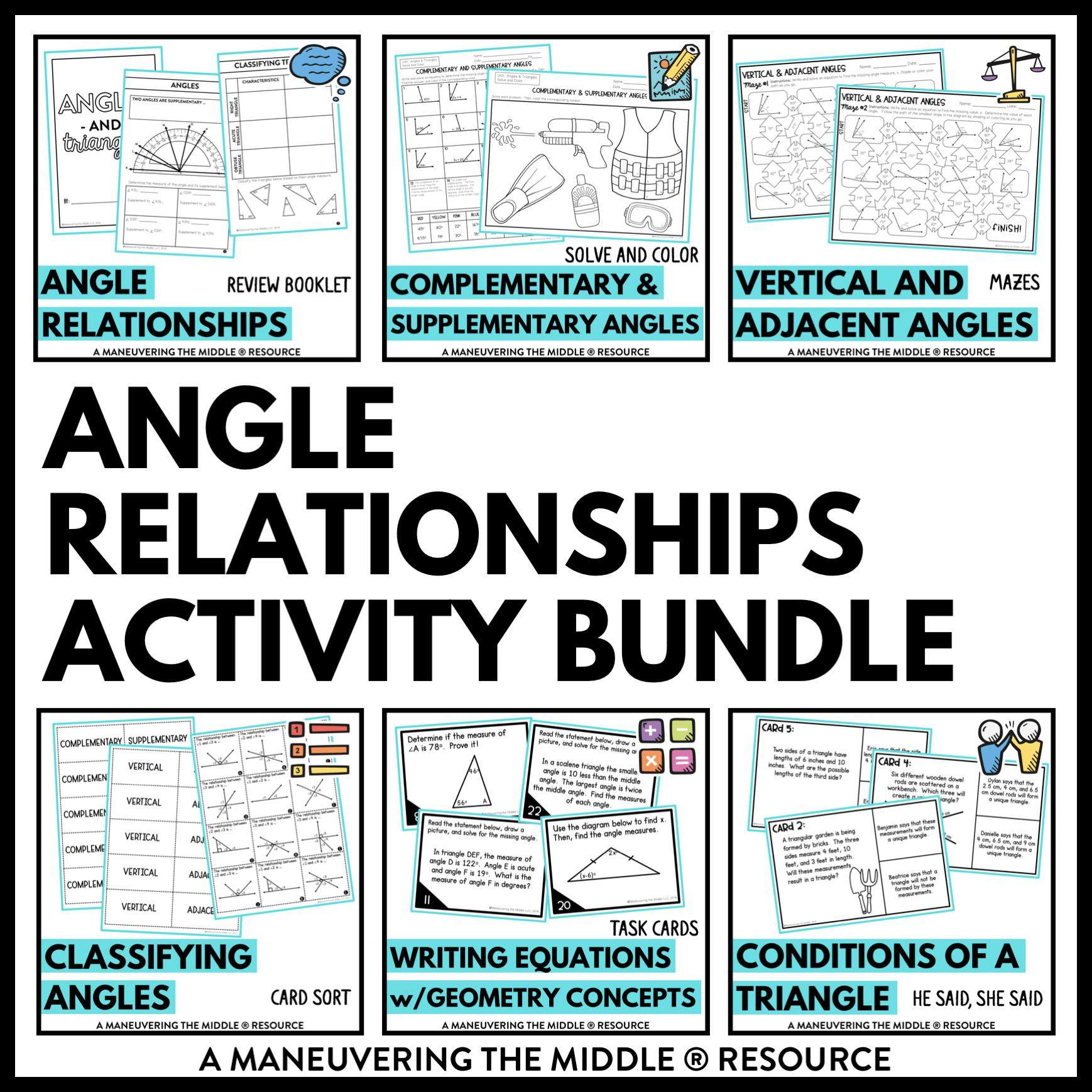 hight resolution of Angle Relationships Activity Bundle 7th Grade - Maneuvering the Middle