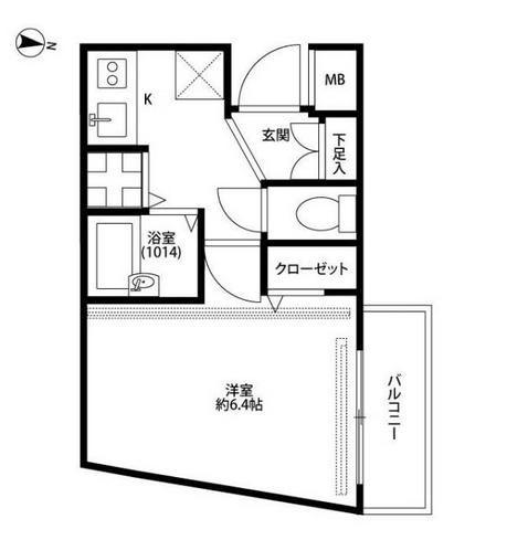 "In smaller apartments, such as this 1K, the washing machine hook-up will be near the front door, indicated by the symbol that looks like a traffic intersection. The ""X"" shows where your refrigerator will go."