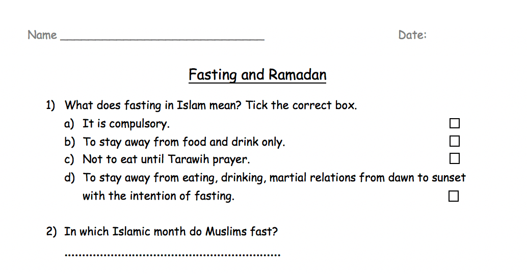 Fasting And Ramadhan Worksheet Safar Resources