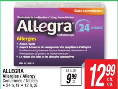 Allegra Allergy Tablets on sale | Salewhale.ca