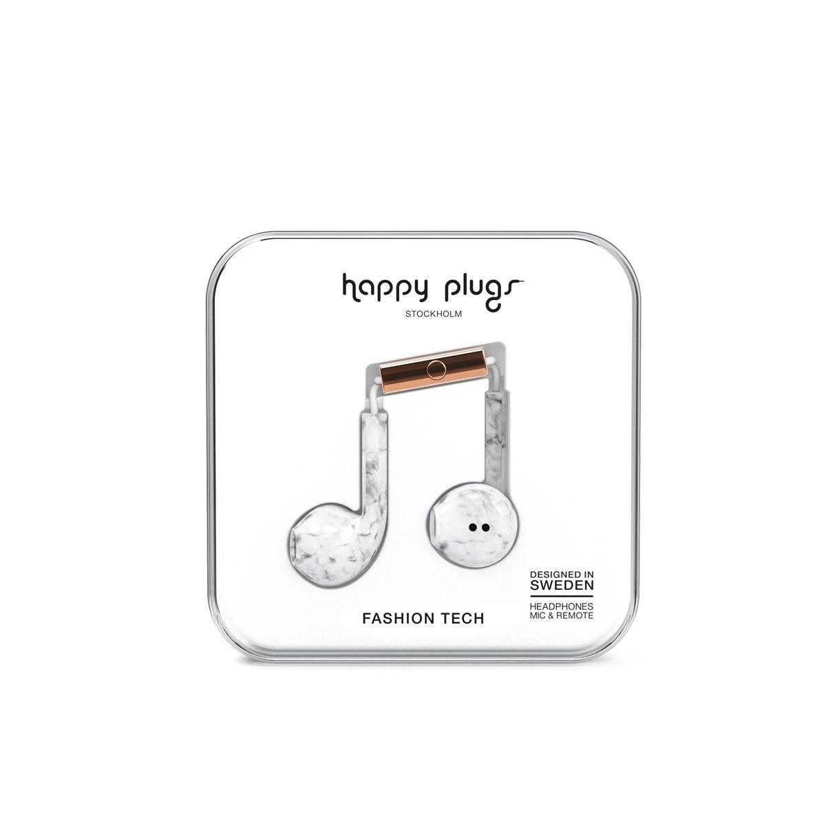 Audifonos C Microfono Earbud Deluxe White Marble Happy