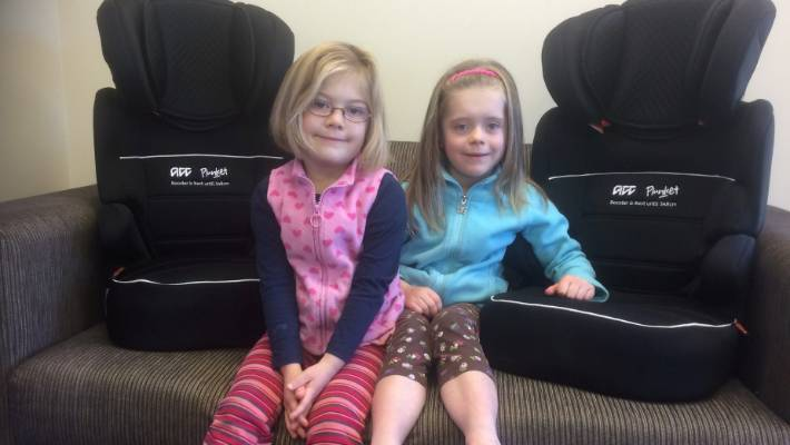 chair cover hire kerry deck chairs asda plunket puts brakes on car seat in marlborough stuff co nz sisters edyn and deleya radovanovich are the last two children to receive booster seats