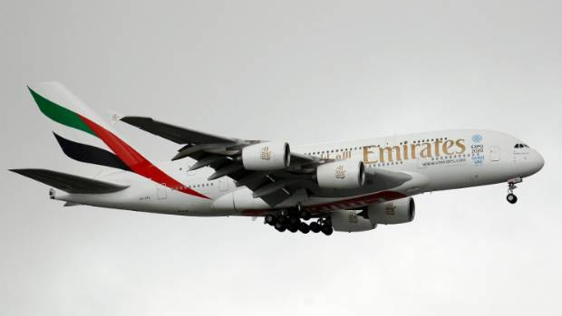 The Airbus A380 is a double-deck, wide-body, four-engine jet airliner.