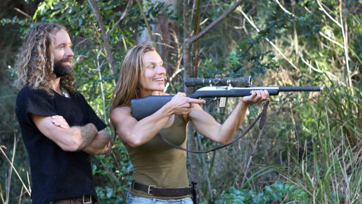 Lancewood, pictured with her friend Daniel, who taught her how to use a rifle.