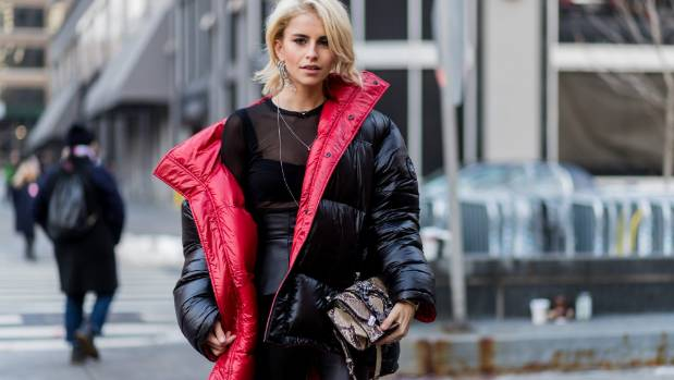Actress and model Caroline Daur wearing a Vetements puffer jacket outside the Dion Lee show during New York Fashion Week.
