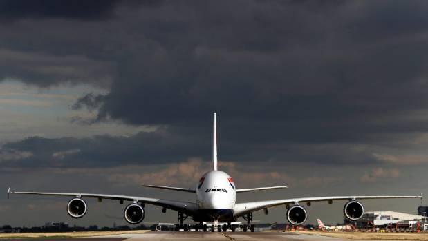 A British Airways Airbus A380 aircraft taxis.