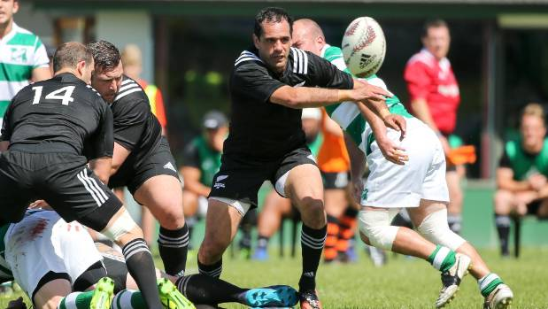 NZ Heartland captain Andrew Stephens gets the ball away against NZ Marist.
