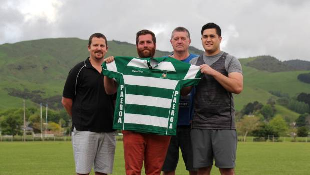 West president Josh Firth, left West captain Jesse O'Brien, Old Boys president Peter Smith and Old Boys captain Hammond ...