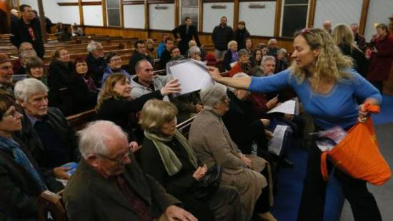 Professor Lisa Matisoo-Smith hands out DNA test kits to 50 people in Nelson after introducing the audience to the Allan ...