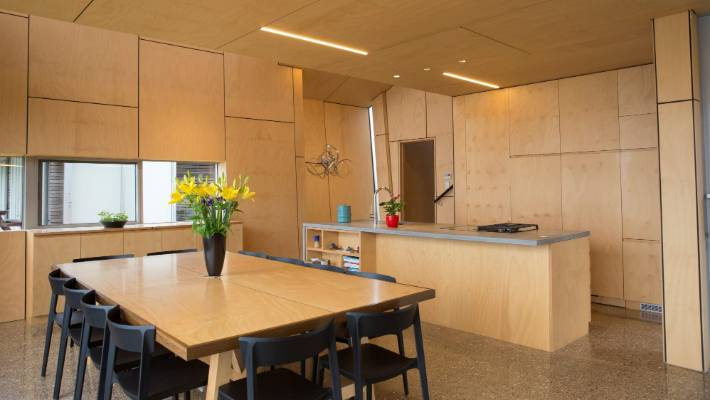This house, featured on the television show Grand Designs, used pine plywood for the walls, ceiling and cabinetry.