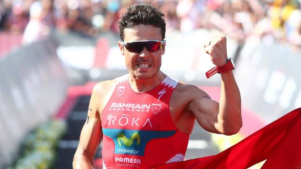 Javier Gomez Noya of Spain celebrates winning the men's race during the 2017 Ironman 70.3 in Dubai.