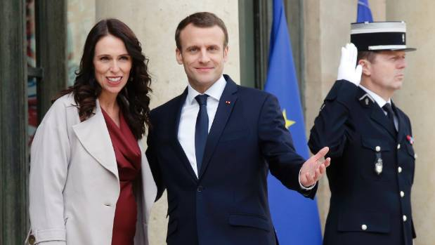 Prime Minister Jacinda Ardern is welcomed by French President Emmanuel Macron at the Elysee Palace in Paris.