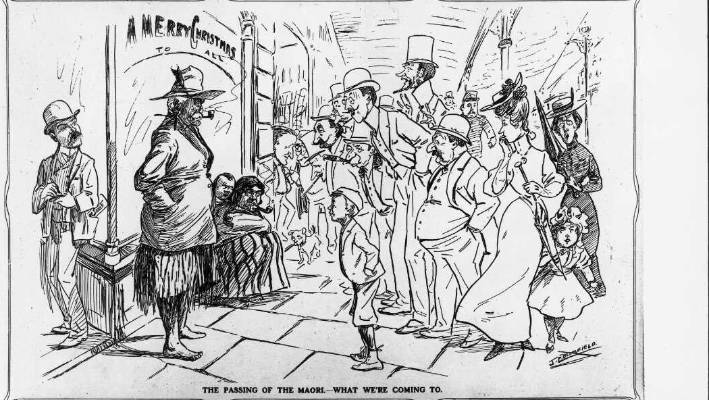 """The passing of the Māori"" as imagined by cartoonist John Collis Blomfield in 1906."