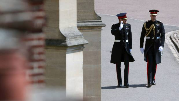 Prince Harry, left, and best man Prince William arrive at St George's Chapel.