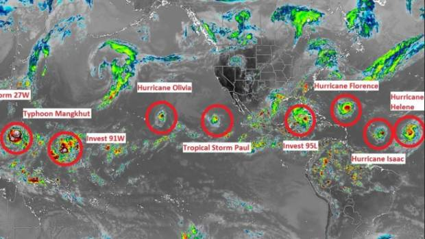 Typhoons tropical storms and hurricanes are sweeping