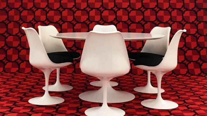 tulip table and chairs nz swing chair ikea 10 recommended exhibitions in october stuff co eero saarinen designed 1955 example 1965 aluminium base