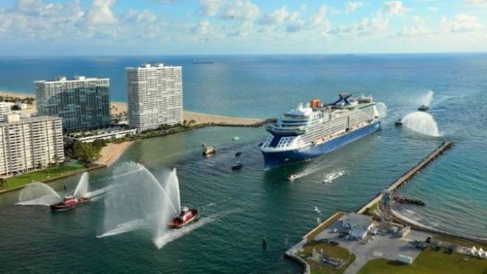 The Celebrity Edge reaches its new home - Terminal 25 (T25) of Port Everglades in Hollywood, Florida.