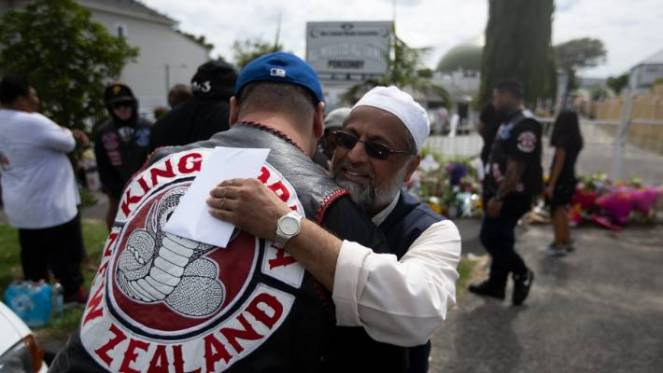 Members of the King Cobra gang were warmly greeted as they paid their respects to senior members of the Al-Masjid Al-Jamie mosque in Ponsonby on Saturday, a day after two Christchurch mosques were subject to a terror attack, killing 50 worshipers.