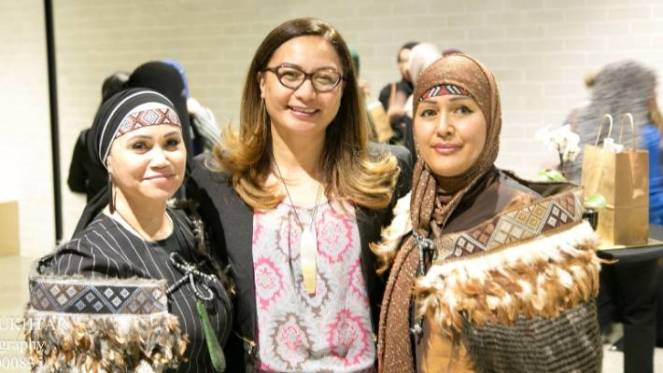 Noeleen van de Lisdonk (left), Green Party co-leader Marama Davidson (centre) and Lucy Shah Mohammady (right). Van de Lisdonk has been a Muslim for nearly forty years. She says she's always suffered discrimination because of it and from other Māori too.