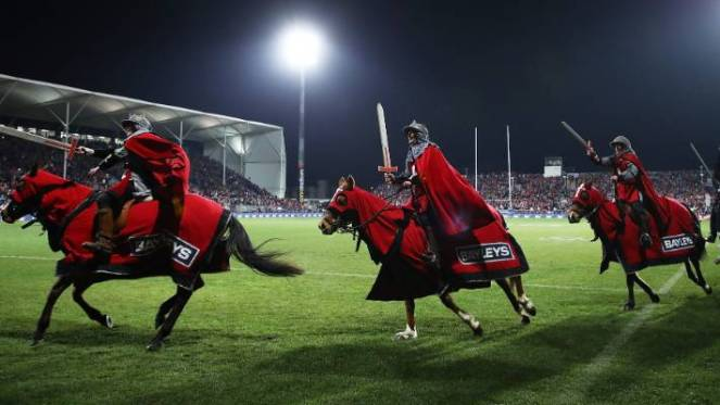 men with swords on horses have been a part of the Crusaders prematch since they began in 1996.