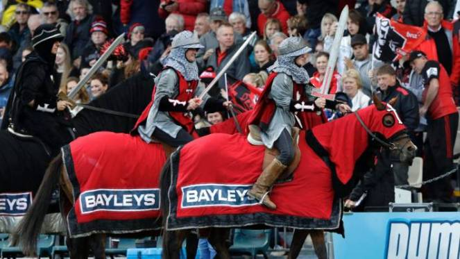 The Crusader horsemen ride around the arena prior to the start of the Super Rugby match between the Crusaders and Hurricanes this year.