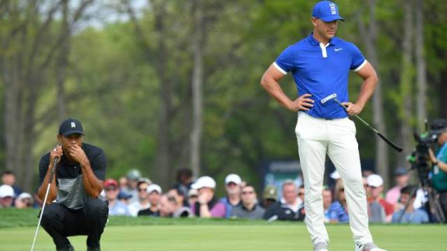 Brooks Koepka played with Tiger Woods the first two days and beat the Masters champion by 17 shots.