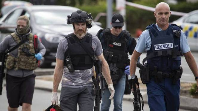 Armed police moved swiftly to put the central city in lockdown after the mass shootings at two mosques.