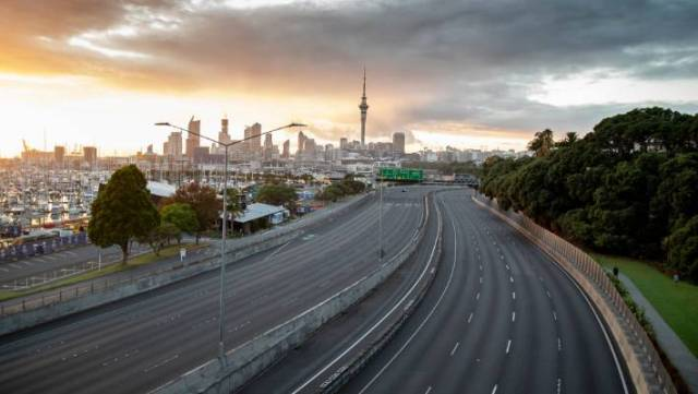 An empty Auckland motorway on day one of the coronavirus lockdown in New Zealand.