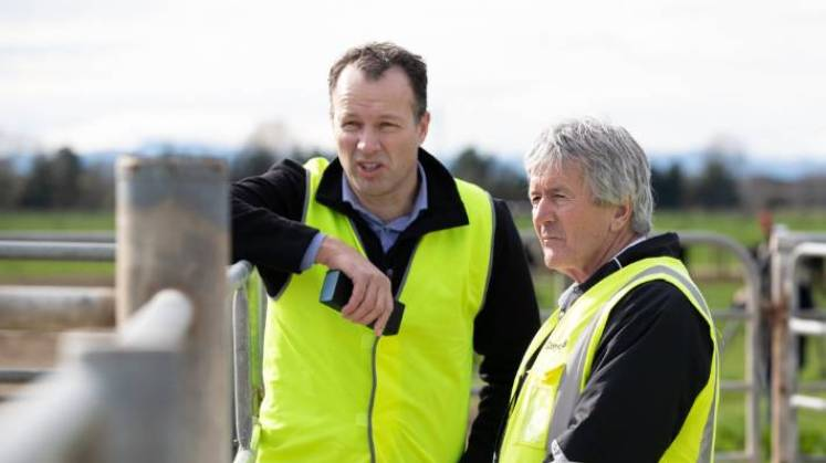 DairyNZ chief executive Tim Mackle is frustrated at current immigration settings. Here he's seen talking to Minister for Primary Industries Damien O'Connor, who says he's not concerned about the new Australian Agricultural Visa.