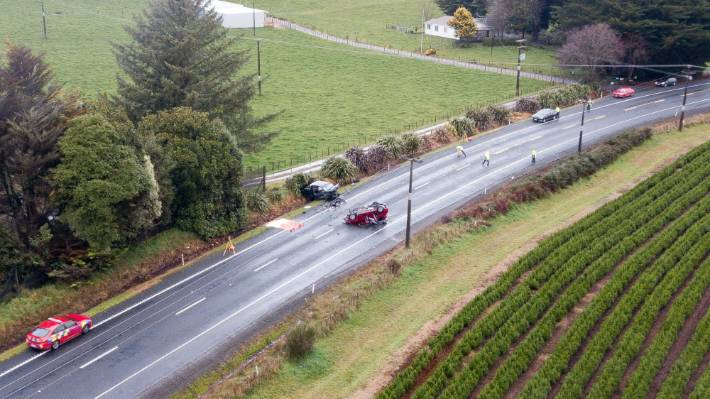A wider view of the crash scene in South Waikato.