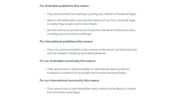 Facebook's managing director for Australia and New Zealand, Will Easton, announced the blockade against Australian news.
