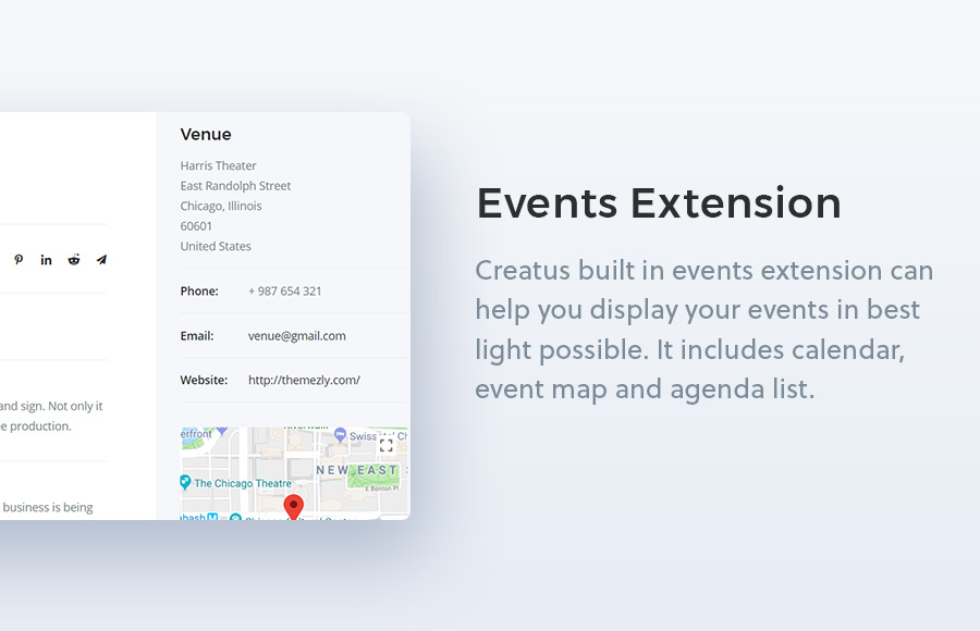 Creatus WordPress theme event extension