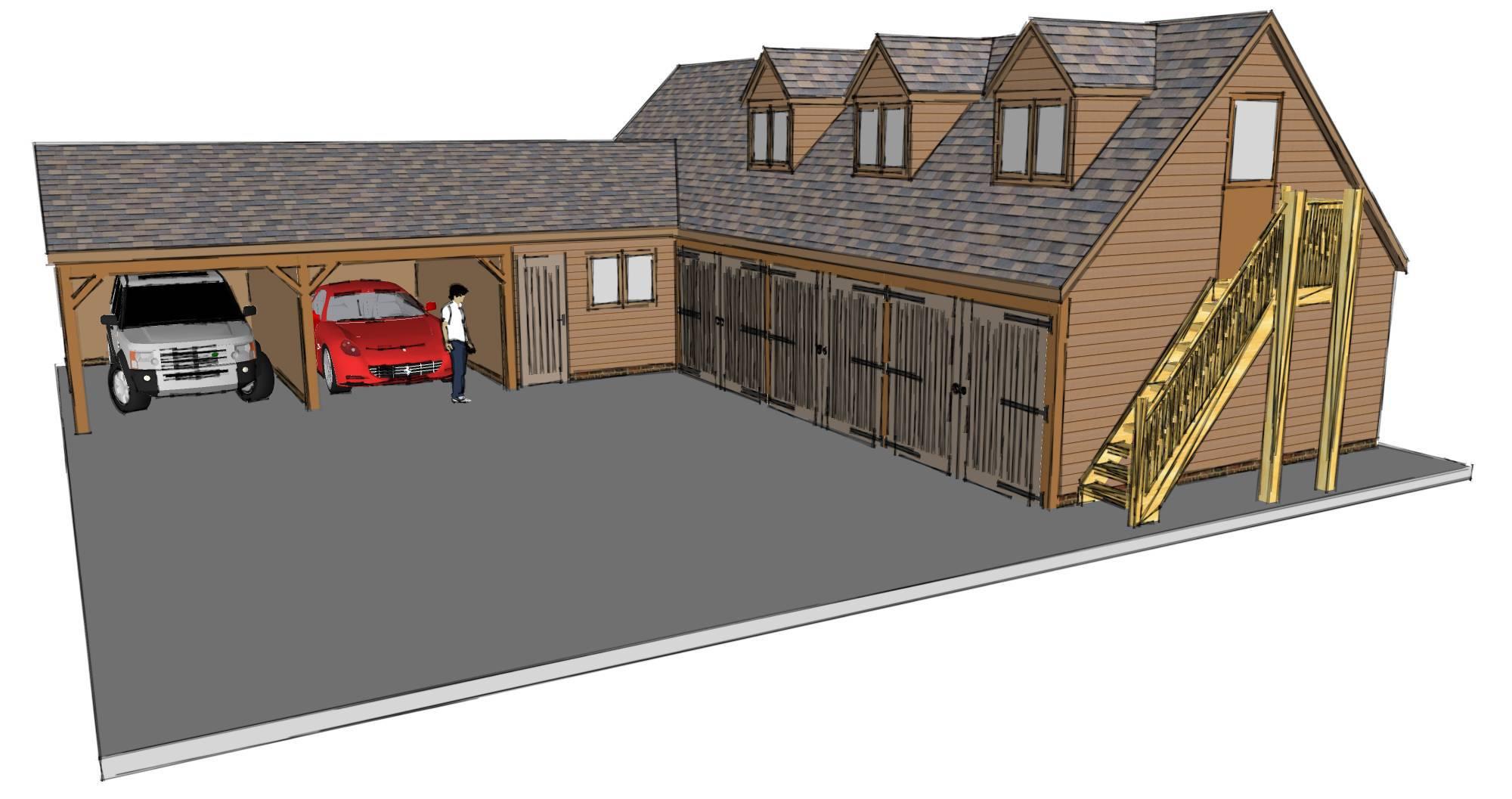 L-shaped House Plans 3 Car Garage