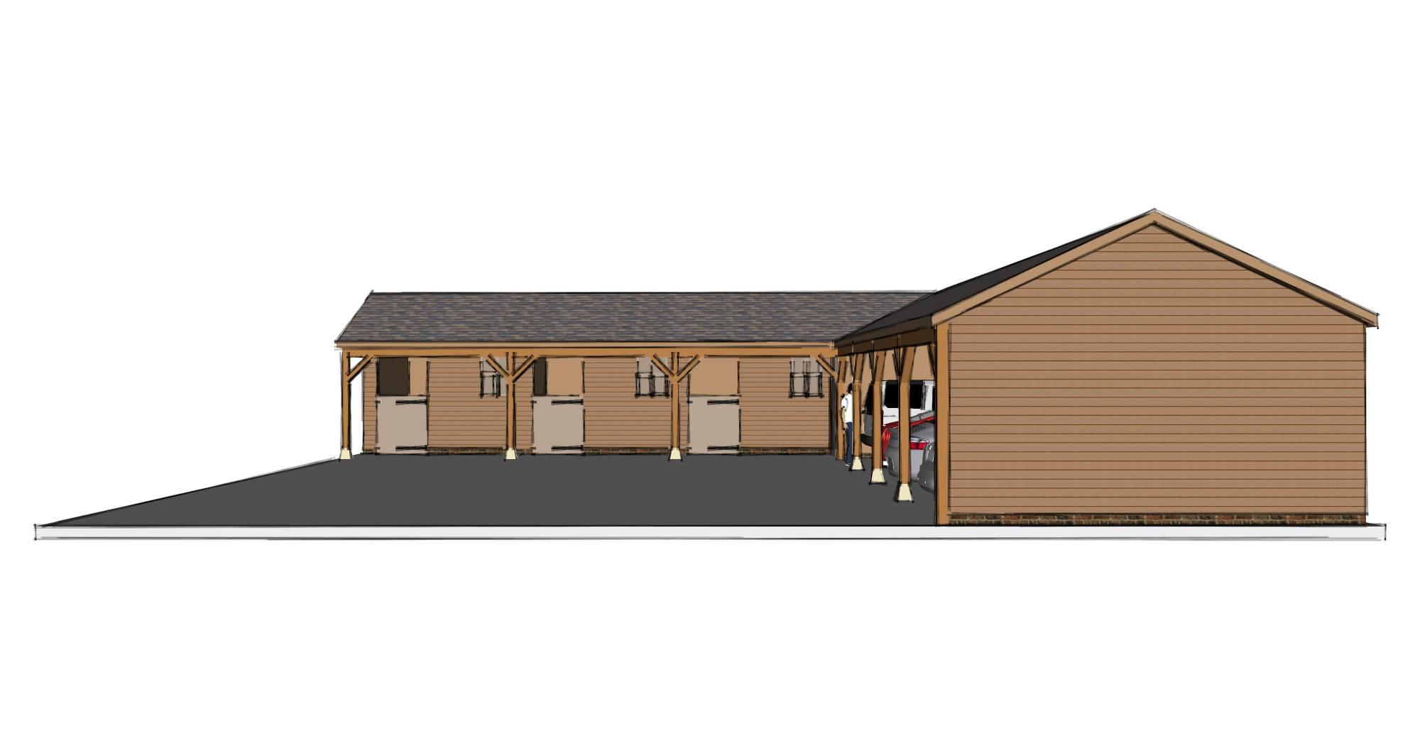 L-shaped Garage