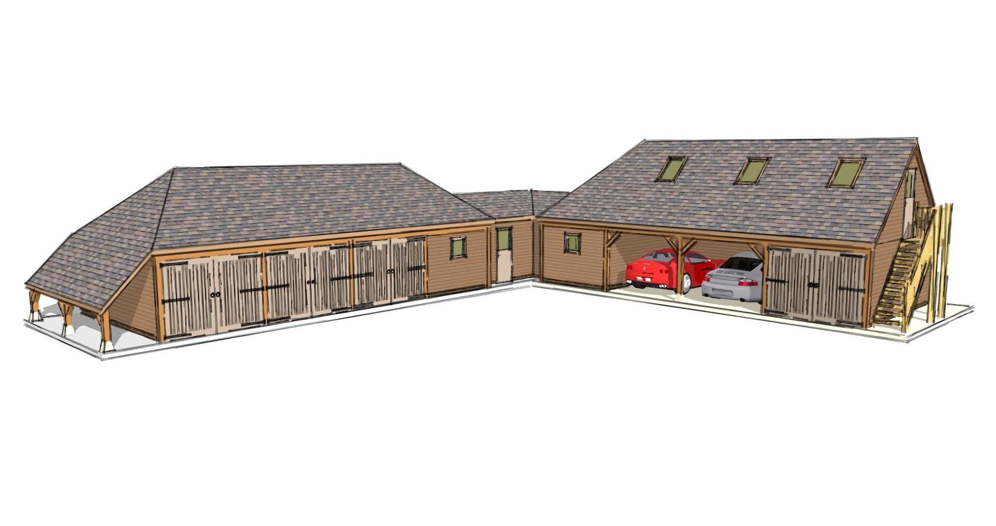 L-shaped Garage Plans